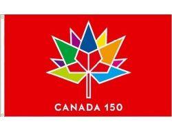 CDA Flag 3x5'>Canada 150  Red
